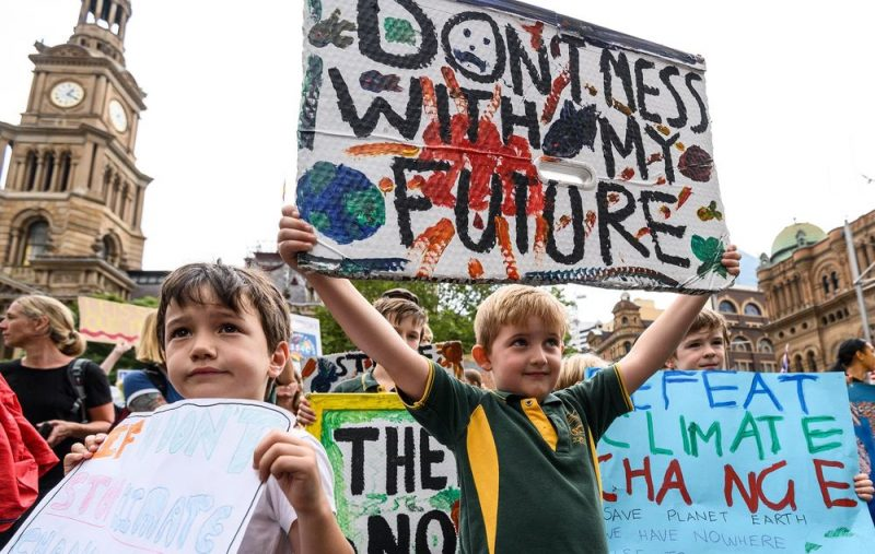 Kids demonstrating for the climate